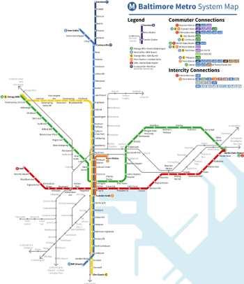 Mapa metra Baltimore (pro zvětšení klikni)