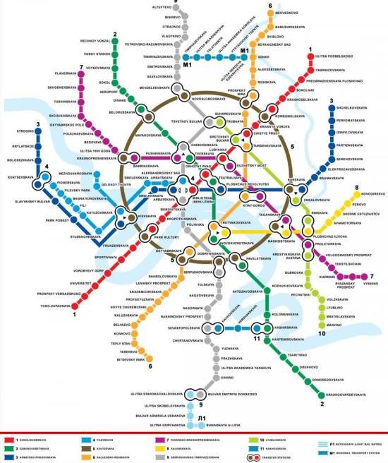 Mapa metra Moskva (klikni pro zvětšení)