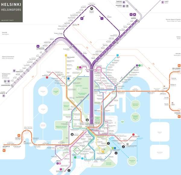 Mapa metra Helsinki (klikni pro velký formát obrázku)