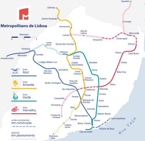 Mapa metra Lisabon (pro zvětšení klikni)