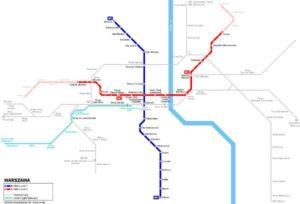 Mapa metra Varšava (klikni pro stažení ve velkém formátu)