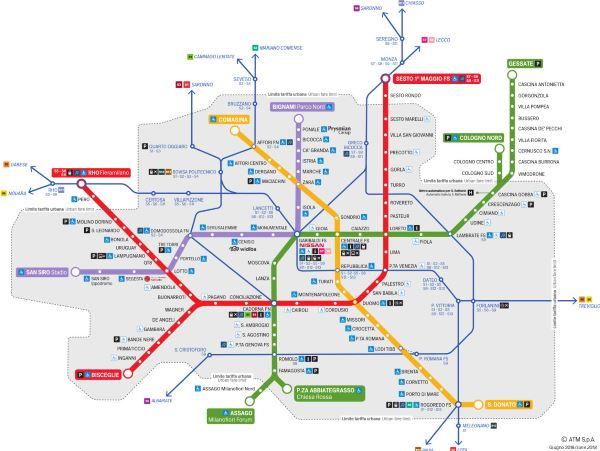 Metro mapa Milán (klikni pro velkou verzi)