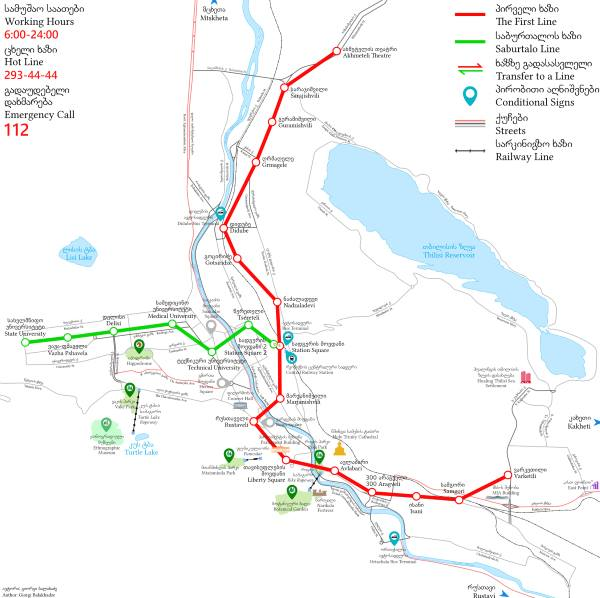 Mapa metra Tbilisi (klikni pro velký formát)
