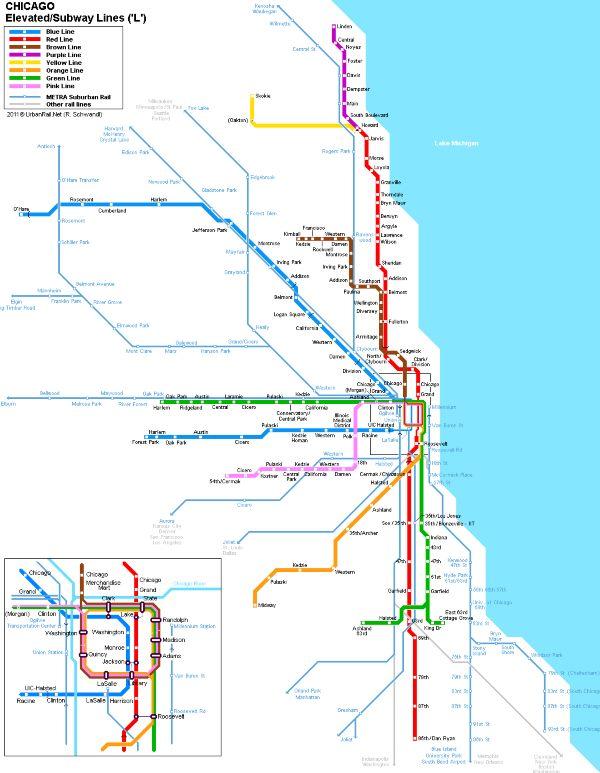 Mapa metra Chicago (klikni pro plný formát)