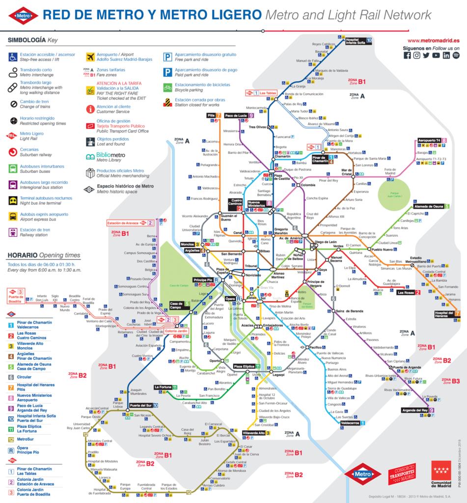 Mapa metra v Madridu