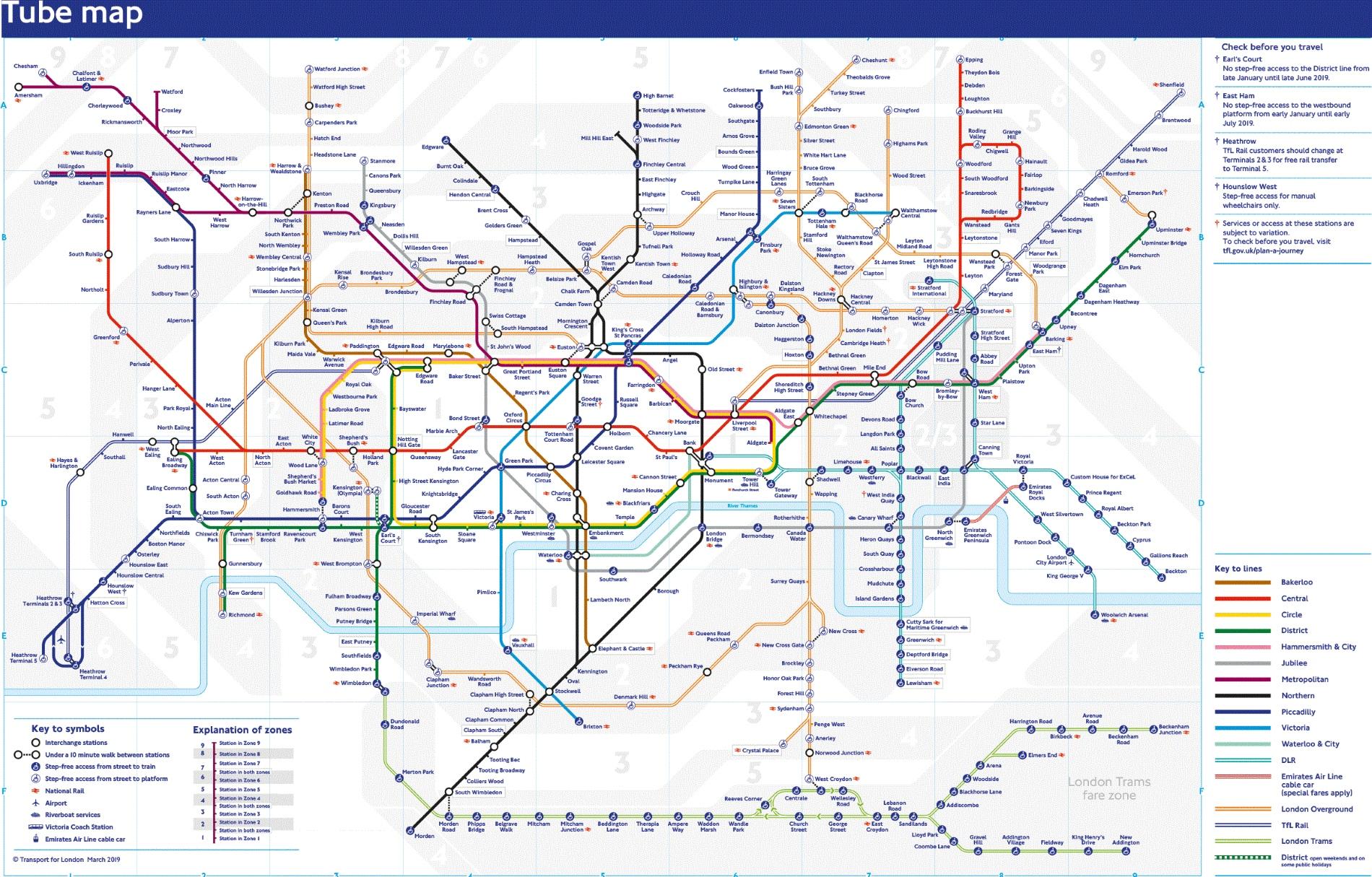 Metro Londýn plánek a mapa