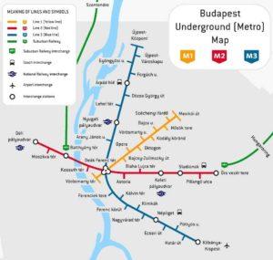 Trasy a mapa metra v Budapešti Maďarsko