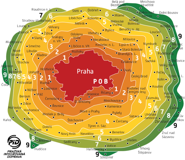 9 tarifních pásem středočeského kraje