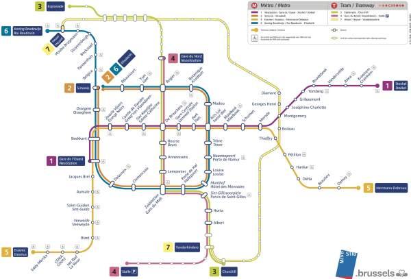 Mapa metra Brusel (pro zobrazení ve velkém rozlišení klikni zde)
