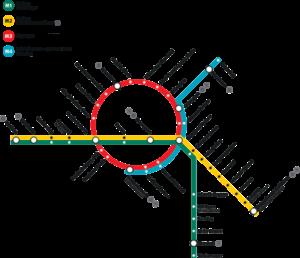 Mapa metra Kodaň (klikni pro zobrazení ve velkém formátu)