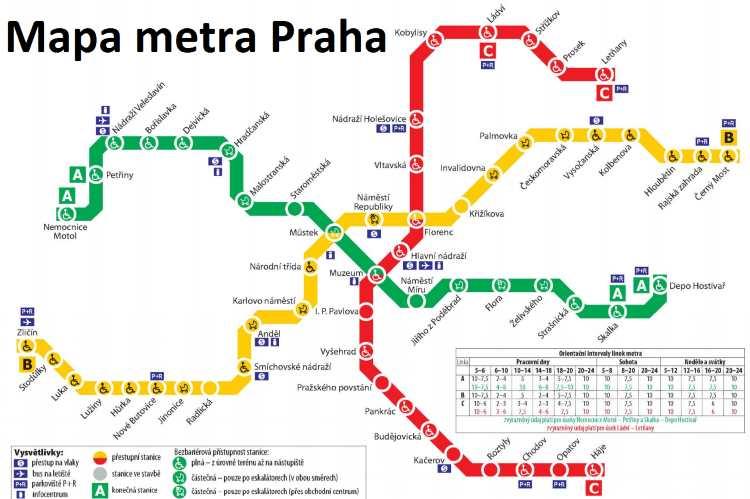 Mapa metra Praha 2019 plán