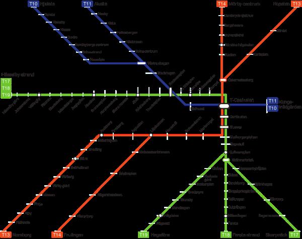 Mapa metra Stockholm (pro zvětšení klikni sem)