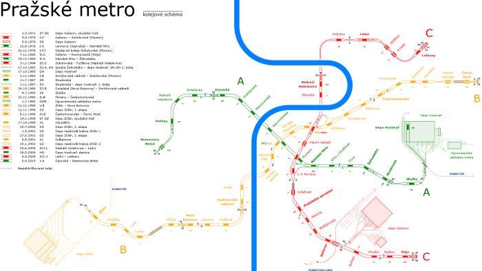 Schéma metra Praha - pražské metro schéma ke stažení