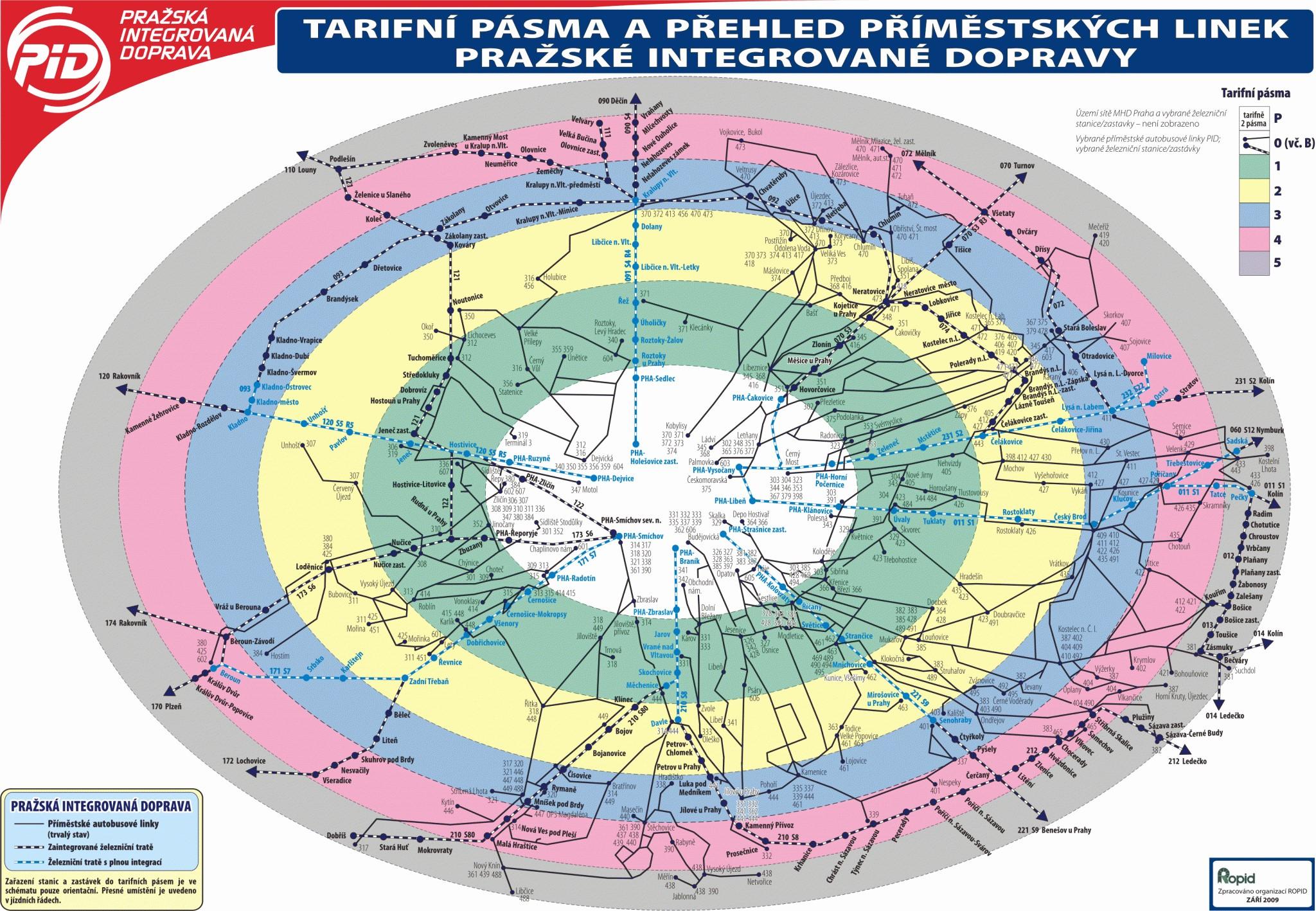Tarifni Pasma Pid Praha 2020 Mapa Dopravni Pasma