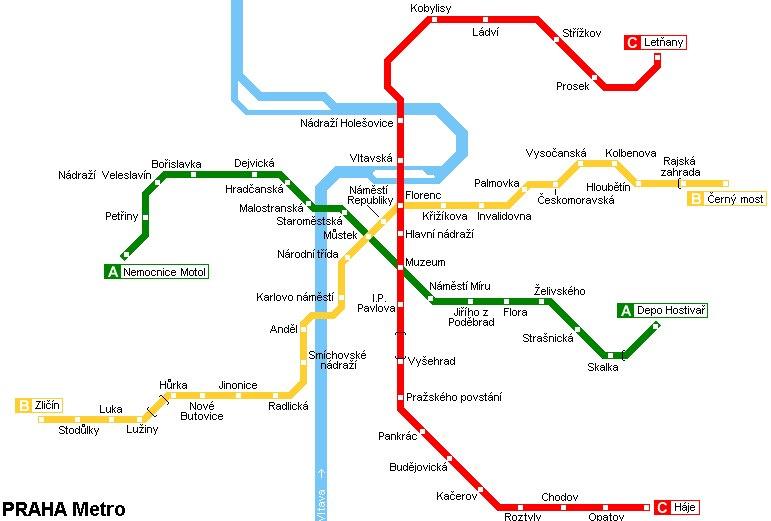 Mapa Metra Praha Linek Stanic 2020 Prazske Metro Ke Stazeni