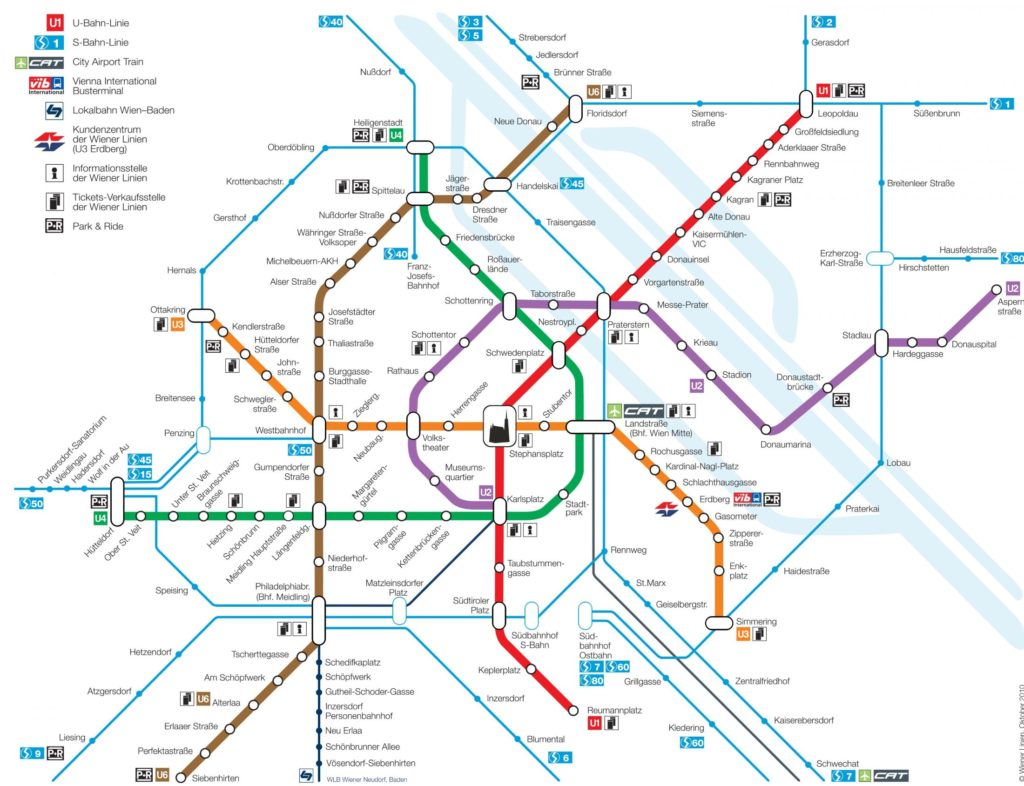 Mapa metra Vídeň plánek vídeňského metra