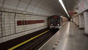Metro Českomoravska stanice - vůz metra Praha