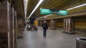Metro Můstek stanice - nástupiště trasa A metra Praha