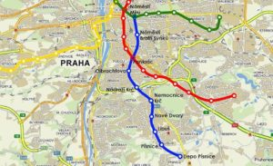 Mapa metra linka D napojení na Pankrát a Náměstí Míru