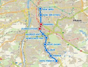 Stanice na mapě trasy D (Metro Praha)